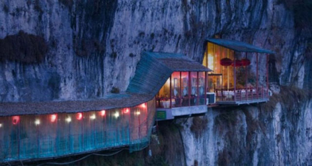 The world most beautiful place restaurant near sanyou cave above the