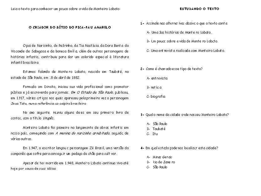 DE TEXTOS DE MONTEIRO LOBATO   45 ATIVIDADES EXERC  CIOS IMPRIMIR