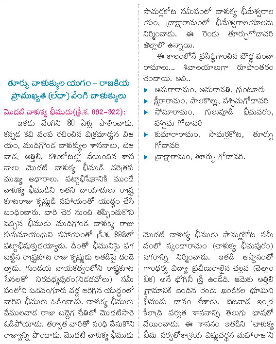 Eastern Chalukyas of Vengi andhra history telugu medium appsc group 2 material
