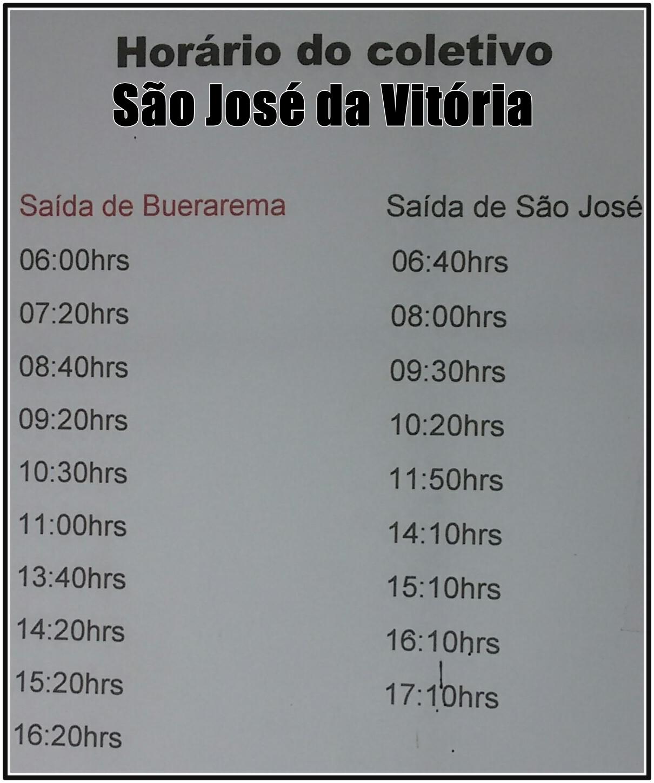 Aqui horário p/ São José da Vitória