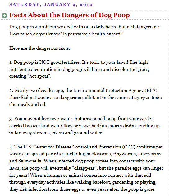 http://dogtalk101.blogspot.com/2010/01/facts-about-dangers-of-dog-poop.html