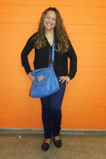 Look calça colorida azul