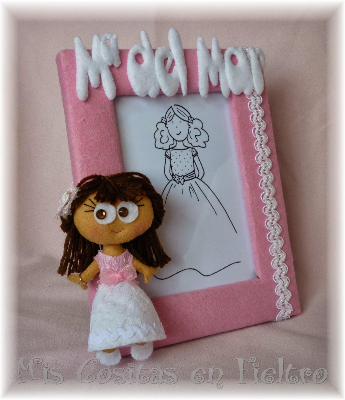 primera comunión, regalo, marco de fotos, portafotos, comunión, fieltro, foto, muñeca comunión
