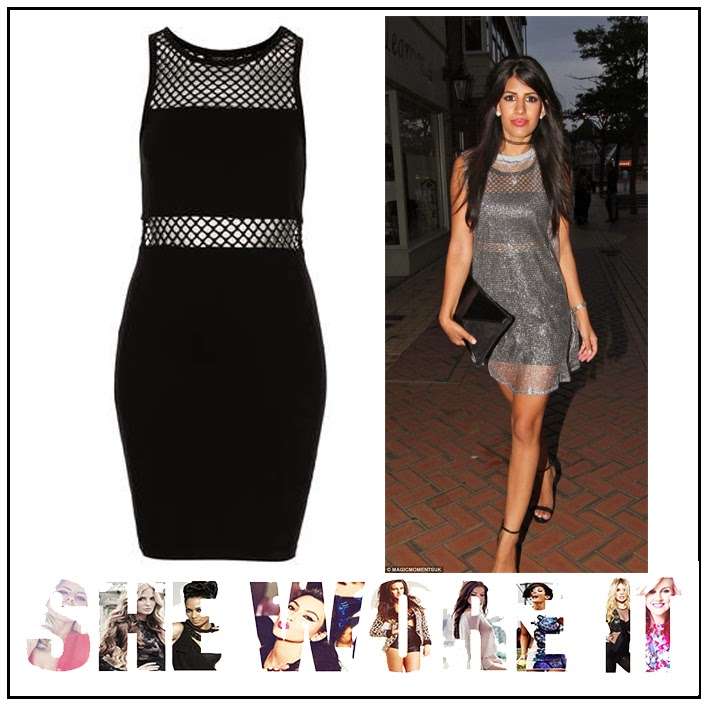 Black, Bodycon, Dress, Fishnet, Jasmin Walia, Jersey, Mesh, Mini Dress, Panels, Sheer, Shoulder Detail, Sleeveless, The Only Way Is Essex, Topshop, TOWIE, Waist Detail,