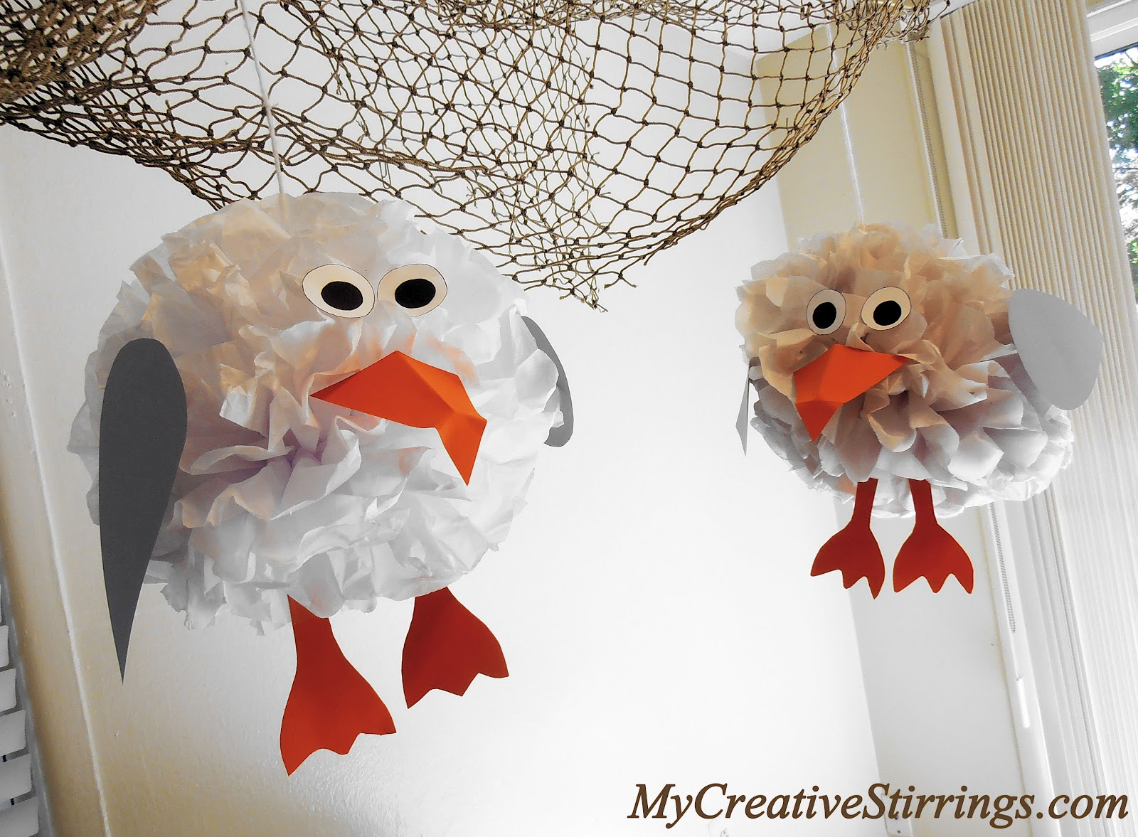 My creative stirrings baby beach bum birthday party these tissue paper seagulls were made by re using the tissue paper bunnies from my easter table setting the seagull embellishments were made with scraps of jeuxipadfo Image collections