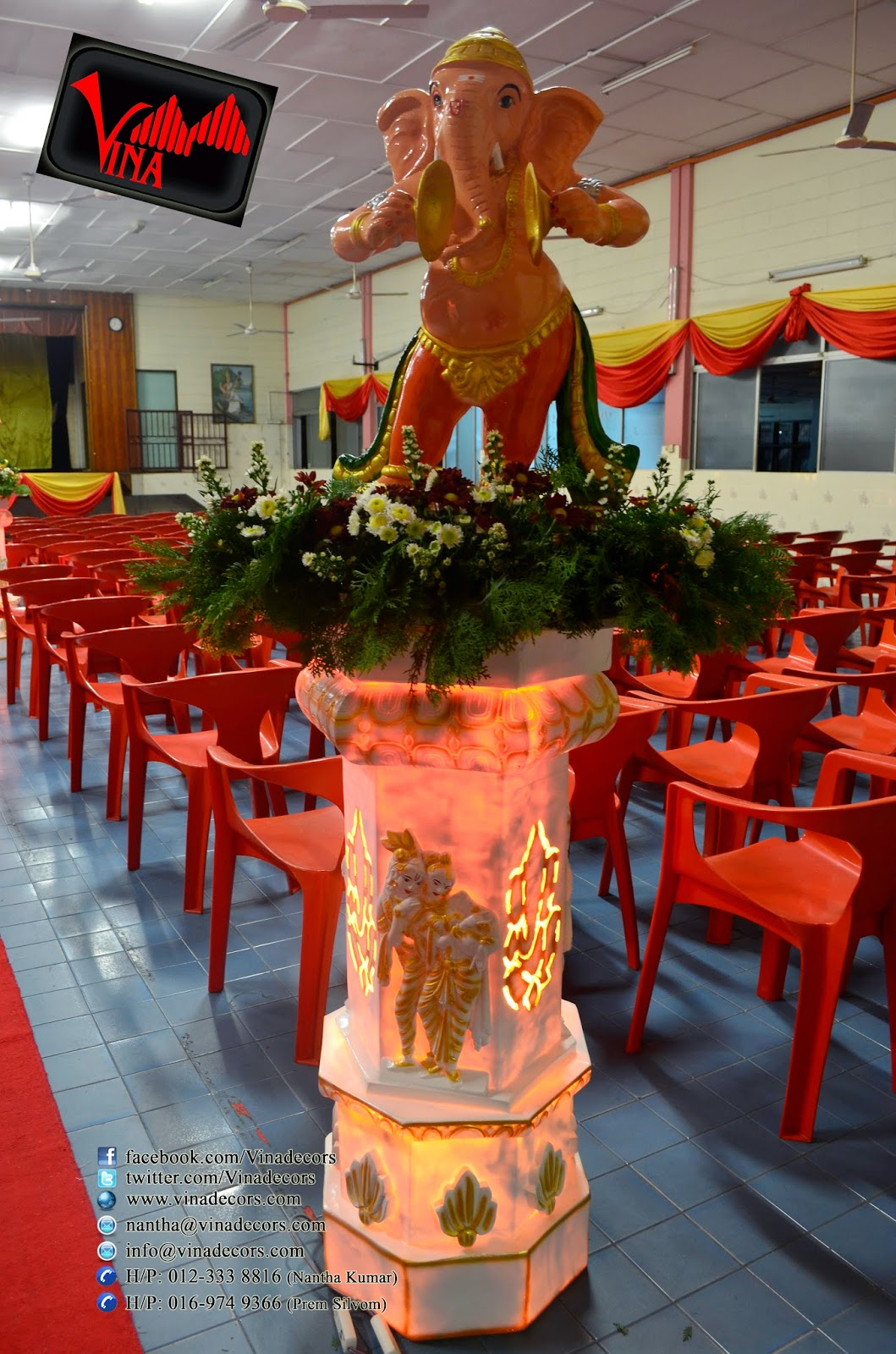 Morning Wedding in Sri Thandayuthapani Temple, Chettiar's Hall, No. 332, Jalan Ipoh, Sentul 51200 Kuala Lumpur which took place on 9th April 2014 (Entrance Kolam Setting with twin ganesha statue, 10 different pillar with musical ganesha statue and fresh flowers, ganesha manavarai seting with fresh flowers and Main table setting) by Vina Canopy & Decor