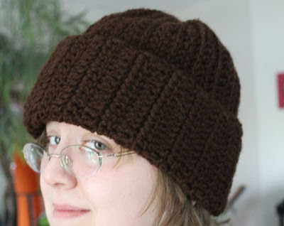 woman wearing crocheted hat