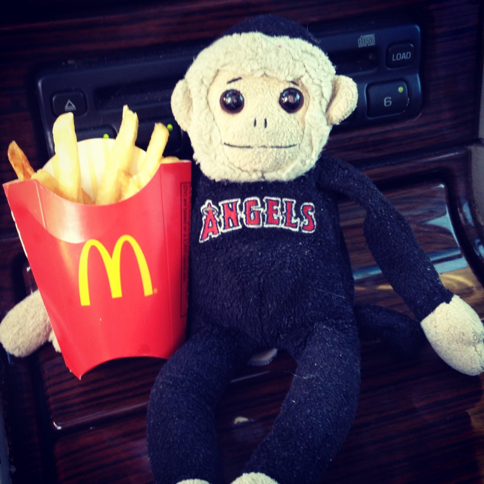 tuna, tuna the monkey, mcdonalds, french fries, kids meal, beanie baby, rally monkey, ty, monkey, angels, angels baseball