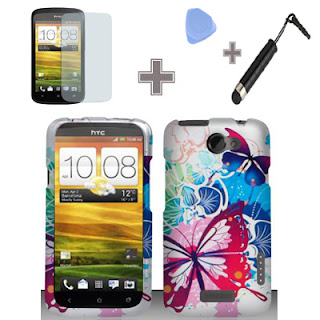 HTC One X-AT&T-Rubberized Cool Color Butterfly Hard Case Cover+Screen+Pen