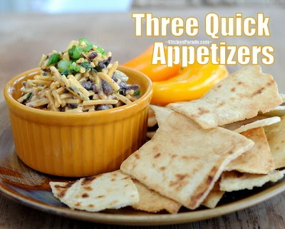 Three quick appetizer recipes including the retro Cheddar-Olive Spread (pictured), Spinach Puffs and Cream Cheese-Chutney Spread.