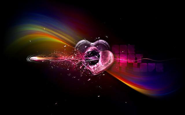 Zwarte afbeelding met liefdes hartjes