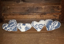 4 BLUE & CREAM COVERLET HEARTS
