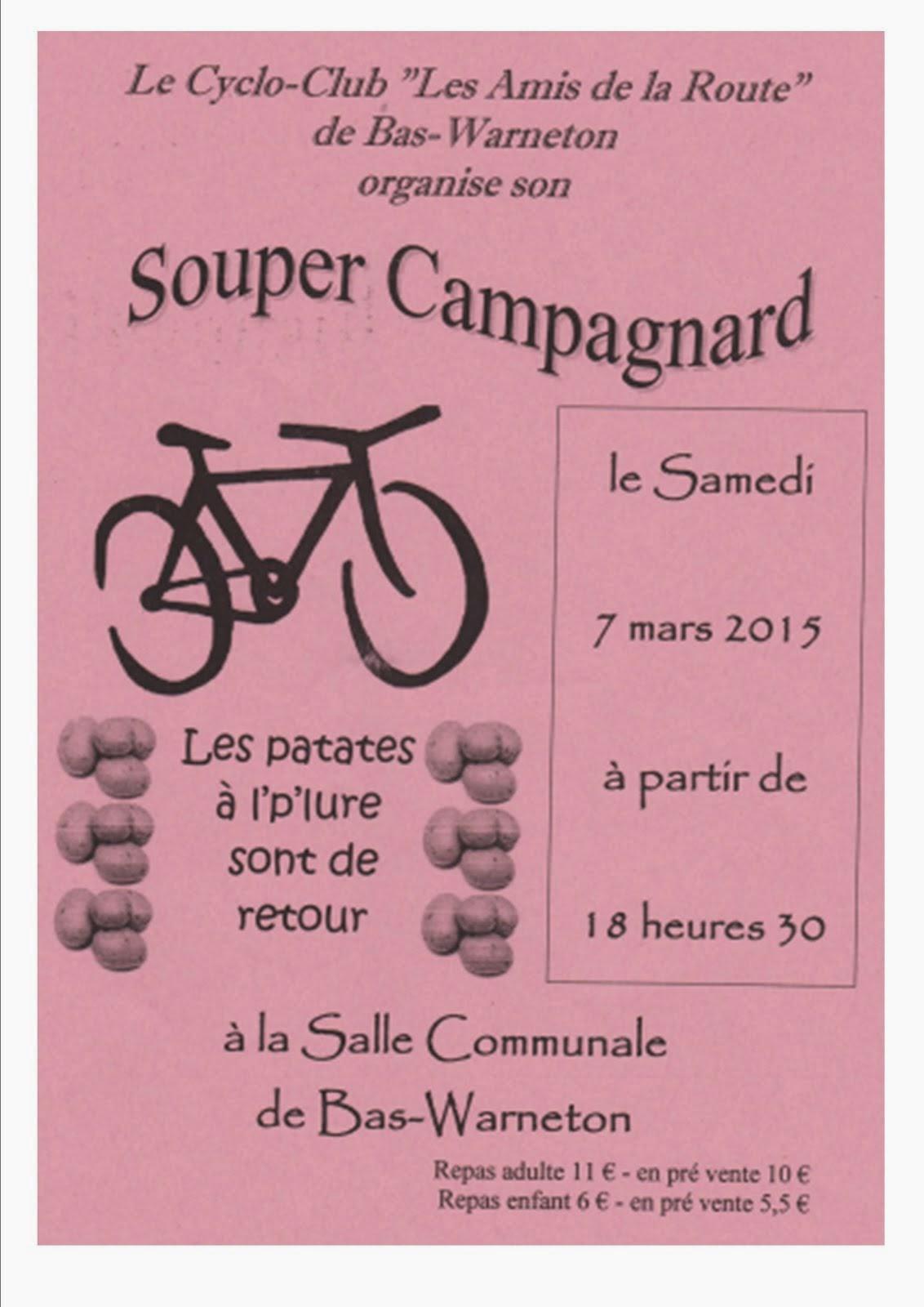 """7-mars 2015 Repas du Cyclo-Club """"Les amis de la route"""" de Bas-Warneton l"""