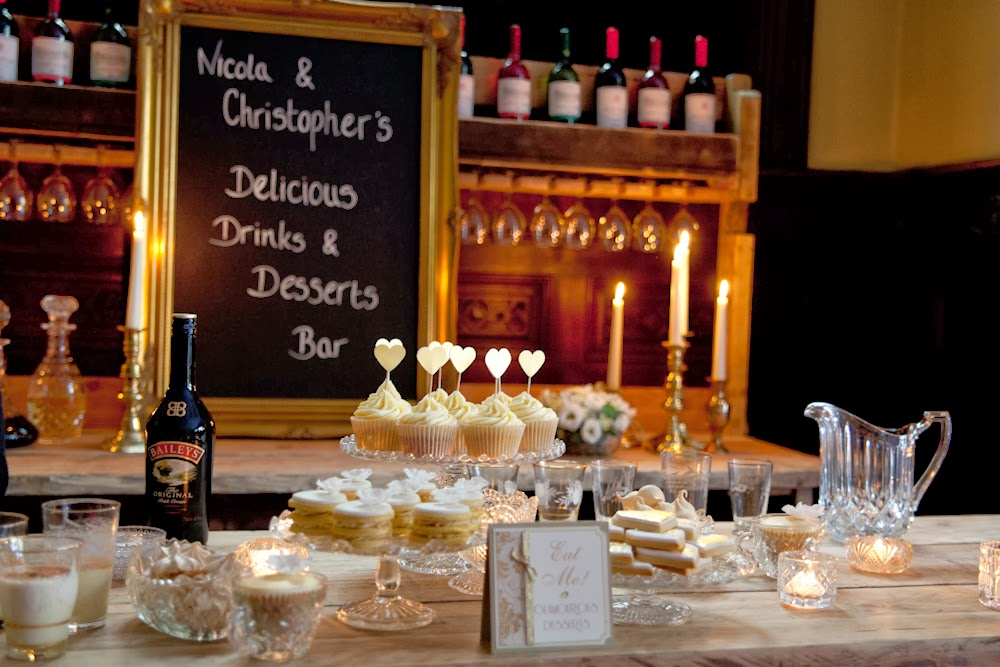 Eggnog and baileys dessert table for golden glamour styled wedding, by Weddings by Sophie