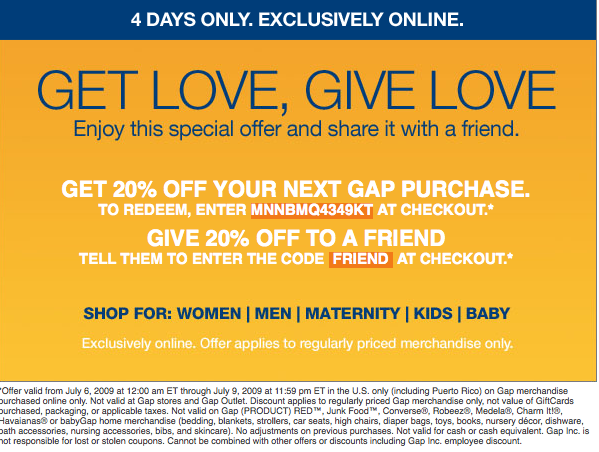 Gap online coupon code
