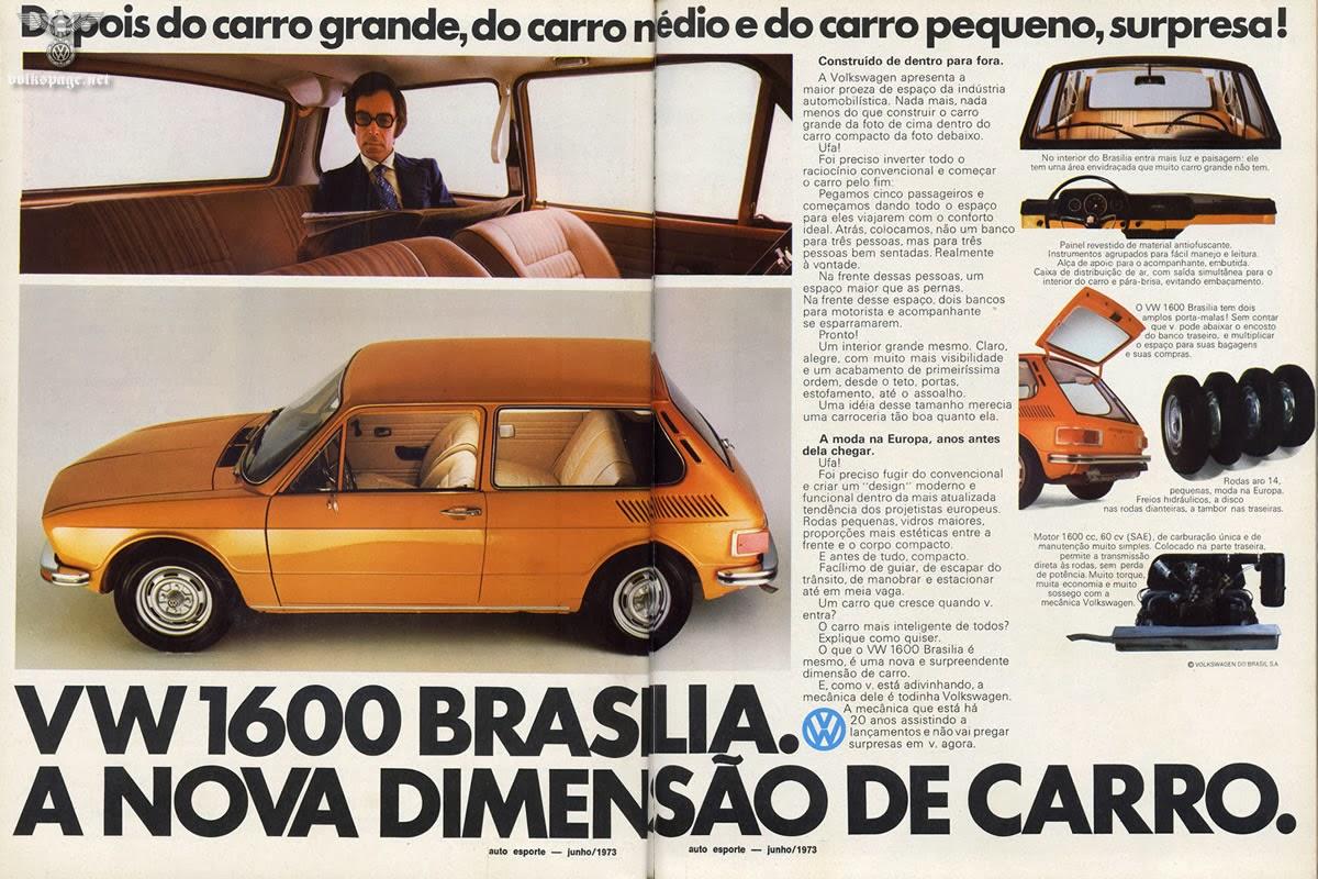 Propaganda de lançamento do Volkswagen Brasília, em 1973.