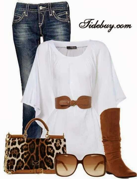 Adorable jeans, white blouse, brown long shoes, cheetah bag and sunglasses for fall