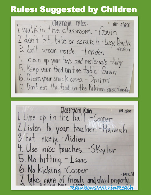 photo of: Bulletin Board of Rules Drafted by Preschool Children