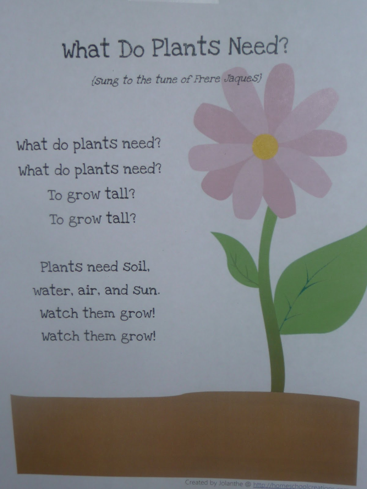 What do plants need quot song from homeschool creations garden pack