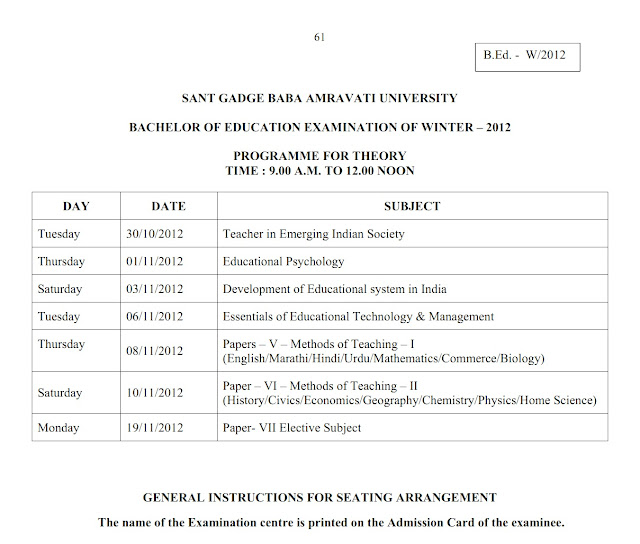 Amravati University B.Ed. Winter 2012 Timetable