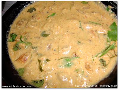 Carrot Groundnut Cashew Masala