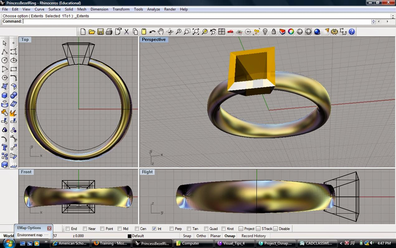 Online rhino 3d cad jewelry design training institute for 3d drawing program free online