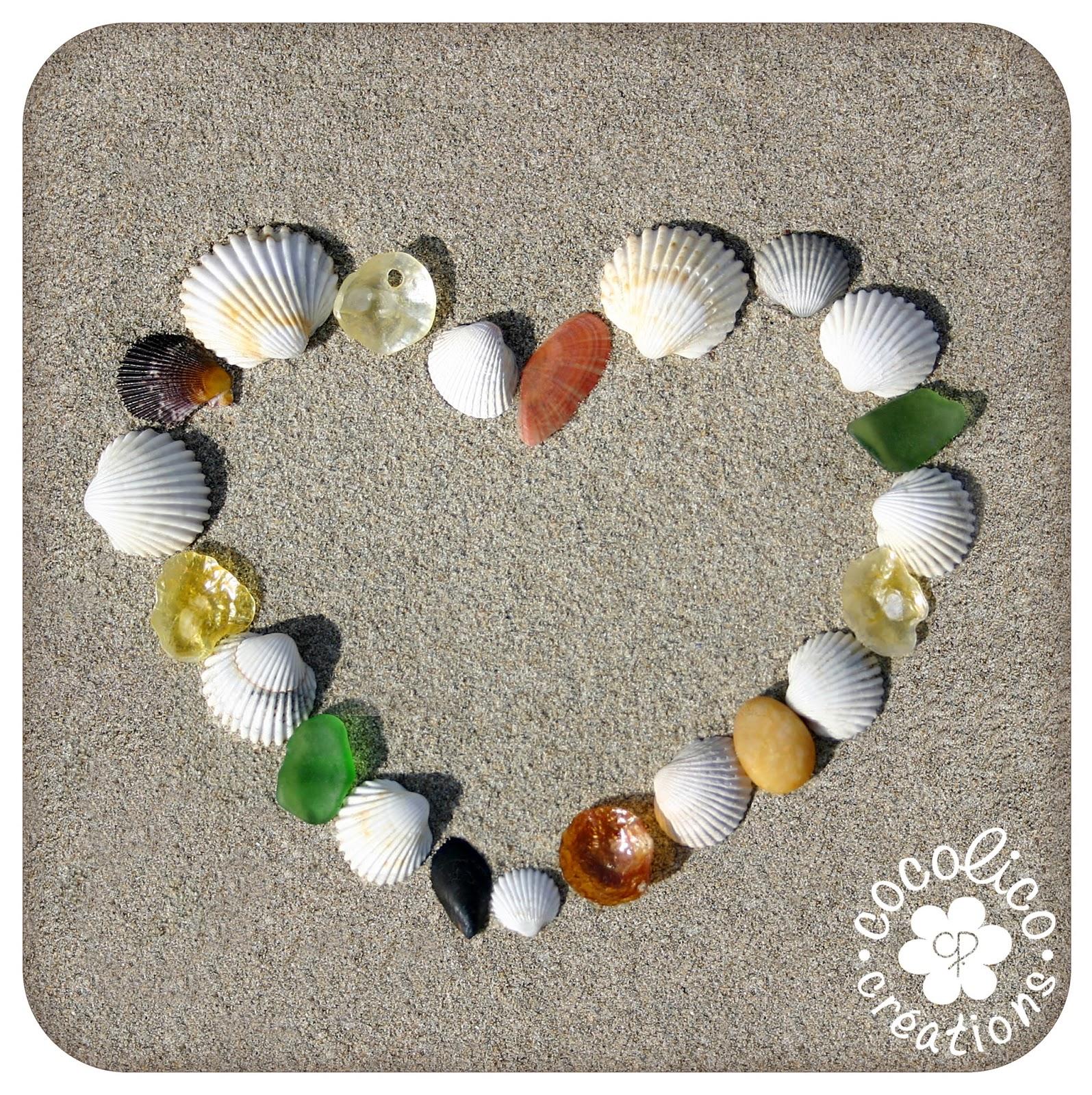 Cocolico creations dites le avec des coeurs 3 coeur de coquillages - Coeur avec des photos ...