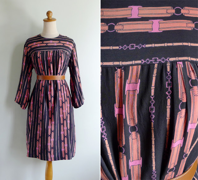 vintage 70's black silk dress with novelty print