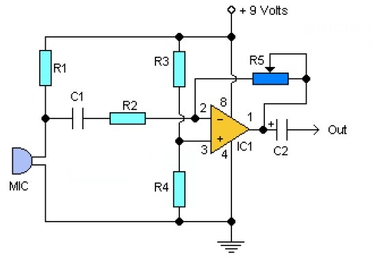 simple preamp mic using ic lm358