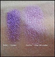 Nabla Cosmetics - Butterfly Valley - Lilac Wonder a confronto con il pigmento Violet di MAC Cosmetics
