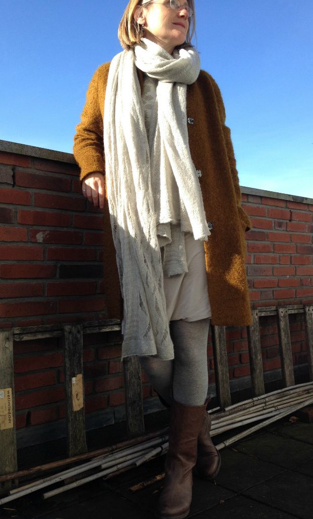 Mustard yellow cocoon coat