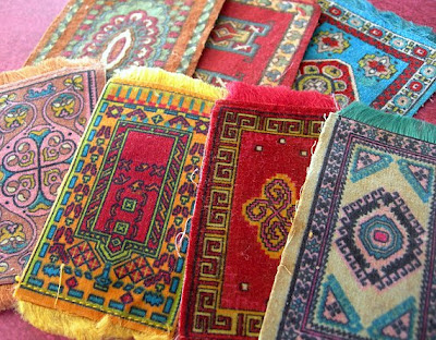 Miniature oriental rugs made of flannel felt