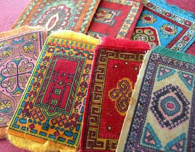 Miniature oriental rugs made of flannel felt