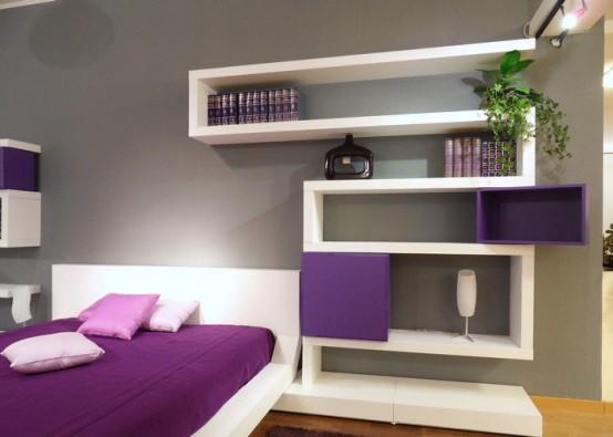Decoracion Diseño: Diseño moderno dormitorio con estantes de la ...