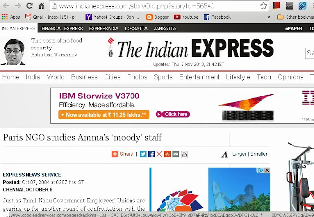 Paris NGO studies Ammas moody staff  - Indian Express Report