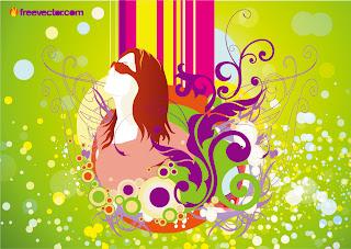 植物で飾られた女性の春の背景 spring graphics with girl illustration, colorful stripes, floral shapes decoration イラスト素材