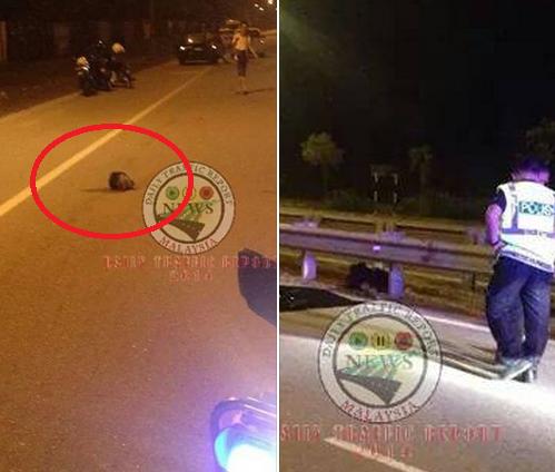 Ngeri Kepala putus motosikal terbabas langgar penghadang jalan