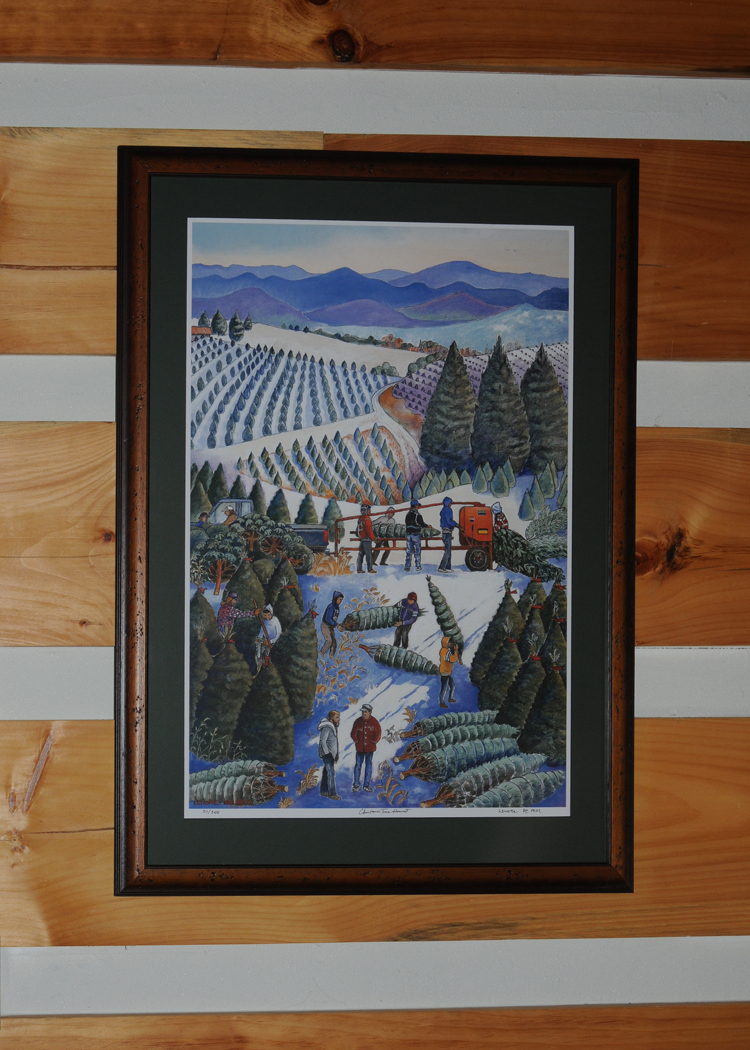 we had a nice thanksgiving at the cabin with my mother visiting us finally got some artwork on the walls the christmas tree harvest is a lithograph by