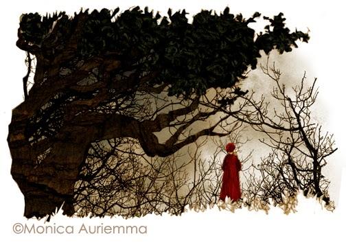 """Illustrazione.la selva oscura. Monica Auriemma.""""Leggo perchè..."""" Mondadori Education"""