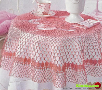 Crochet Tablecloth : crochet home: Pink Tablecloth