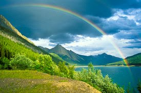 Rainbows over Medicine Lake