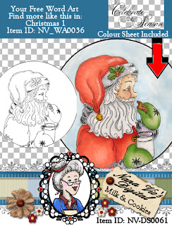 Santa Milk and Cookies digital stamp