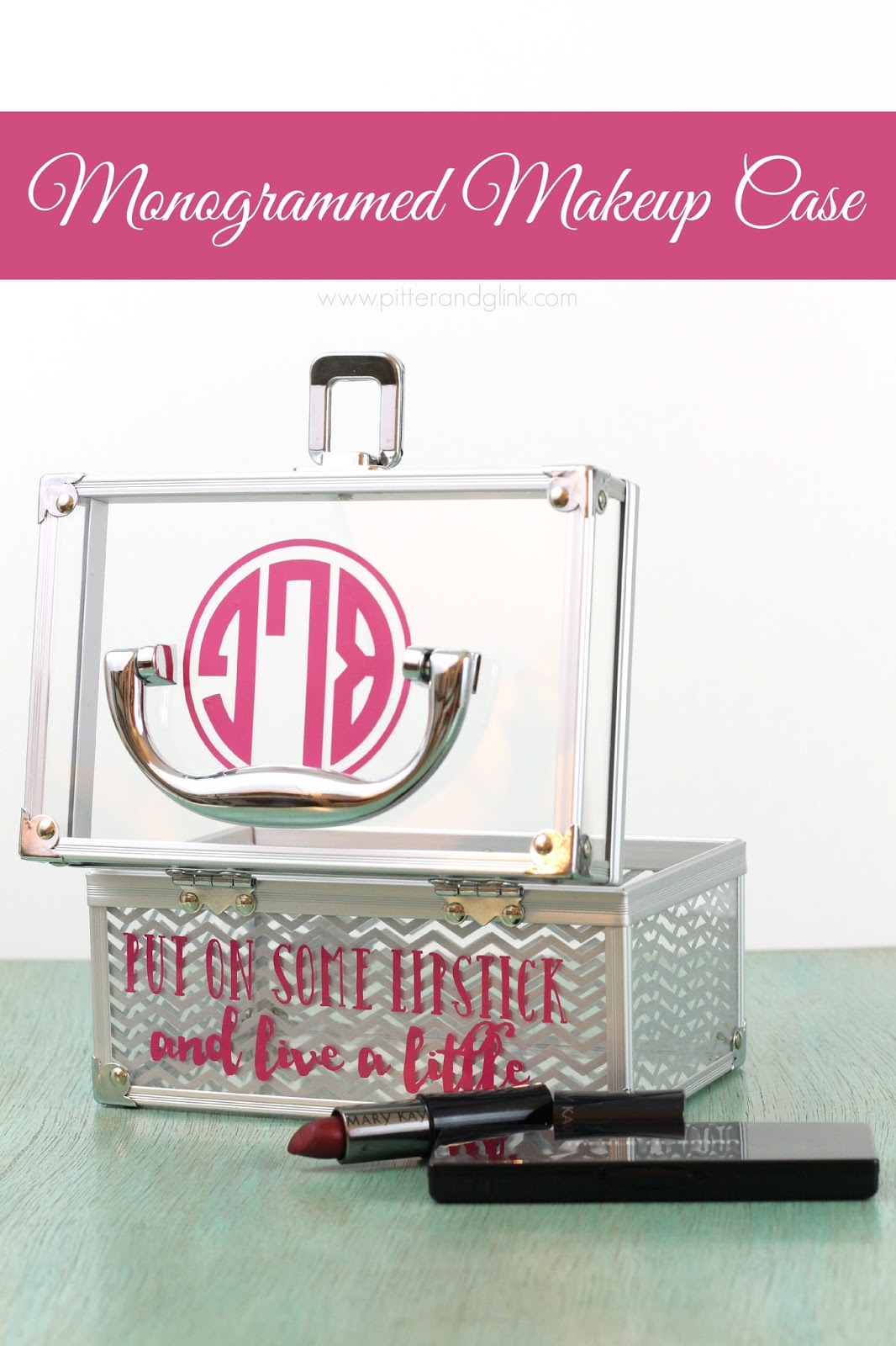 Personalize a plain makeup case with a Silhouette-cut monogram and quote.  pitterandglink.com