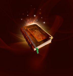 libro del que salen chispas flotando sobre fondo marrón