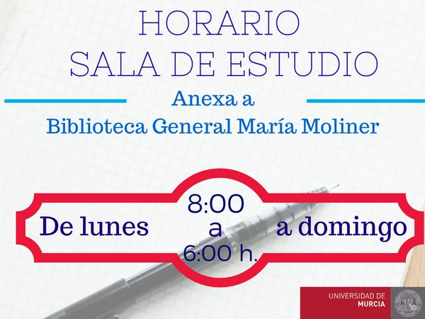A partir del 27 enero, la Sala de Estudio de la Biblioteca General, María Moliner, vuelve al horario habitual.