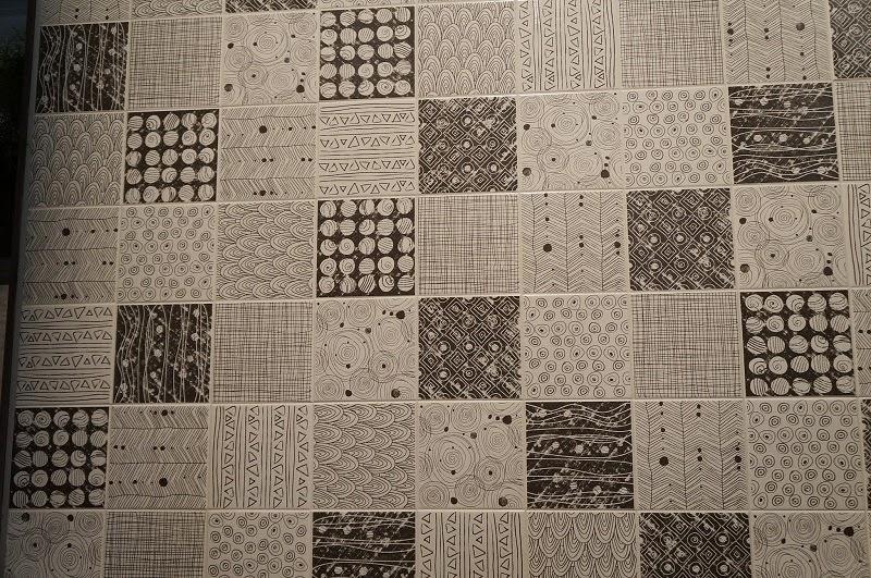 opções de grafismo em preto e branco da Portinari - Expo Revestir 2014