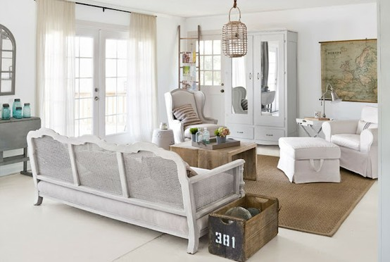 gorgeous light bright rustic shabby chic style white living room