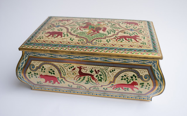 gold and colorful animal box
