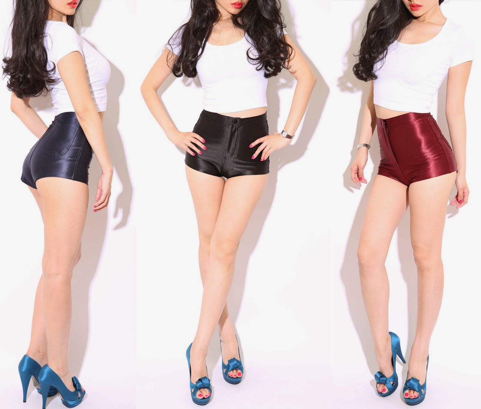 HIGH WAISTED SATIN DISCO SHORTS