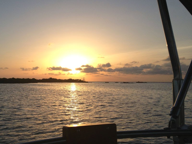 Sunset in Isla Mujeres from Whispering Jesse anchored in the bay